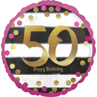 Pink & Gold 50th Birthday Dots Balloon in a Box
