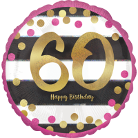 Pink & Gold 60th Birthday Dots Balloon in a Box