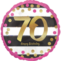 Pink & Gold 70th Birthday Holographic Balloon in a Box