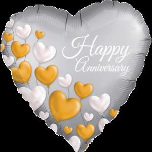 Floating Hearts Anniversary Satin Balloon in a Box