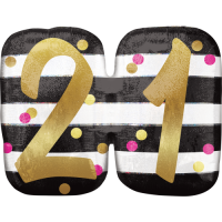 Stripes & Dots 21st Birthday Balloon in a Box