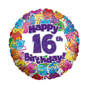 16th Birthday Balloons Holographic Balloon in a Box