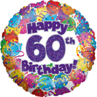 60th Birthday Balloons Holographic Balloon in a Box