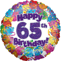 65th Birthday Balloons Holographic Balloon in a Box