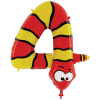 "Zooloon 40"" Colourful Snake Number 4 Balloon in a Box"