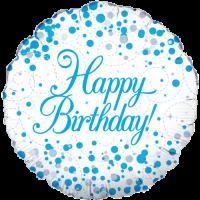 Sparkling Fizz Birthday Blue Balloon in a Box