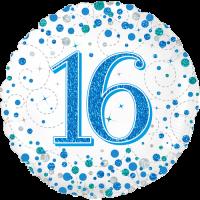 16th Sparkling Fizz Blue Balloon in a Box