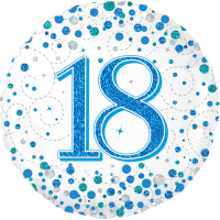 18th Sparkling Fizz Birthday Blue Balloon in a Box