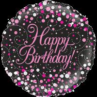 Sparkling Fizz Birthday Black & Pink Balloon in a Box