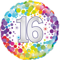 16th Colourful Confetti Birthday Balloon in a Box