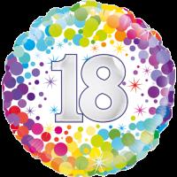 18th Colourful Confetti Birthday Balloon in a Box
