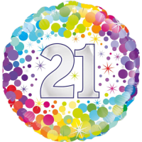21st Colourful Confetti Birthday Balloon in a Box