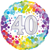 40th Colourful Confetti Birthday Balloon in a Box