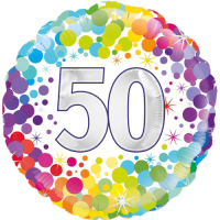 50th Colourful Confetti Birthday Balloon in a Box