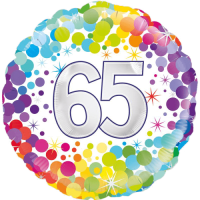 65th Colourful Confetti Birthday Balloon in a Box