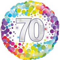 70th Colourful Confetti Birthday Balloon in a Box