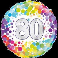 80th Colourful Confetti Birthday Balloon in a Box