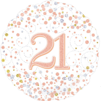 21st Sparkling Fizz Birthday White & Rose Gold Balloon in a Box