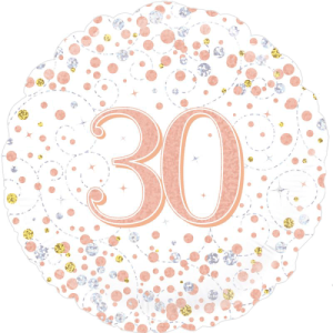 30th Sparkling Fizz Birthday White & Rose Gold Balloon in a Box
