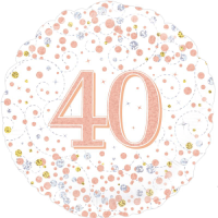 40th Sparkling Fizz Birthday White & Rose Gold Balloon in a Box