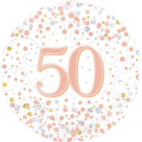 50th Sparkling Fizz Birthday White & Rose Gold Balloon in a Box