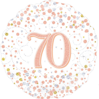 70th Sparkling Fizz Birthday White & Rose Gold Balloon in a Box