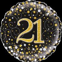 21st Sparkling Fizz Birthday Black & Gold Balloon in a Box
