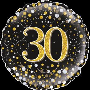 30th Sparkling Fizz Birthday Black & Gold Balloon in a Box
