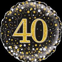 40th Sparkling Fizz Birthday Black & Gold Balloon in a Box