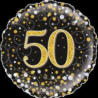 50th Sparkling Fizz Birthday Black & Gold Balloon in a Box