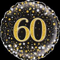 60th Sparkling Fizz Birthday Black & Gold Balloon in a Box