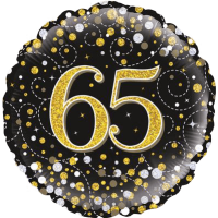 65th Sparkling Fizz Birthday Black & Gold Balloon in a Box