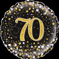 70th Sparkling Fizz Birthday Black & Gold Balloon in a Box