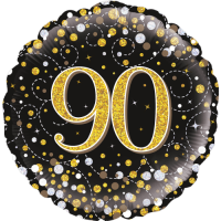 90th Sparkling Fizz Birthday Black & Gold Balloon in a Box
