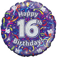 Holographic 16th Birthday Streamers Balloon in a Box