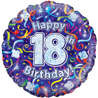 Holographic 18th Birthday Streamers Balloon in a Box