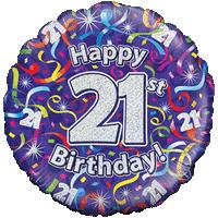 Happy 21st Birthday Streamers Balloon in a Box