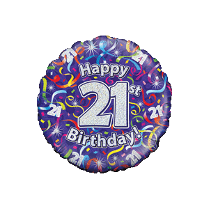 Holographic 21st Birthday Streamers Balloon in a Box