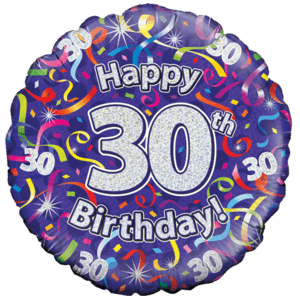 Holographic 30th Birthday Streamers Balloon in a Box
