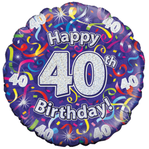 Holographic 40th Birthday Streamers Balloon in a Box