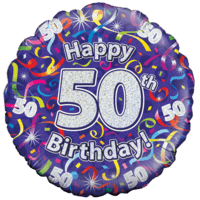 Holographic 50th Birthday Streamers Balloon in a Box