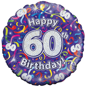 Holographic 60th Birthday Streamers Balloon in a Box