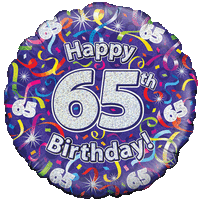 Holographic 65th Birthday Streamers Balloon in a Box