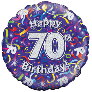 Holographic 70th Birthday Streamers Balloon in a Box