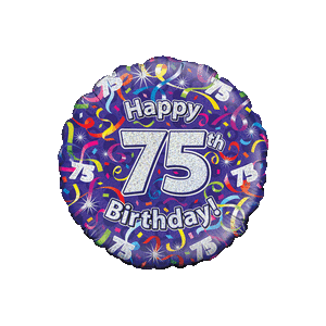 Holographic 75th Birthday Streamers Balloon in a Box