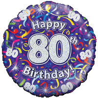 Holographic 80th Birthday Streamers Balloon in a Box