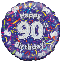 Holographic 90th Birthday Streamers Balloon in a Box