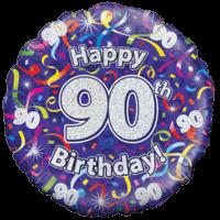 Happy 90th Birthday Streamers Balloon in a Box