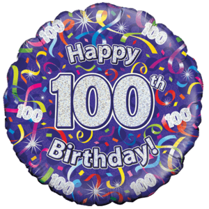 Holographic 100th Birthday Streamers Balloon in a Box