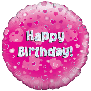 Happy Birthday Pink Vine Swirls  Balloon in a Box